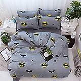 CZDXMFour Seasons Ropa de Cama Fibra de poliéster Aloe Sábanas de algodón Funda de edredón Textiles para el hogar Conjunto Simple Batman 2.0 de Cuatro Piezas
