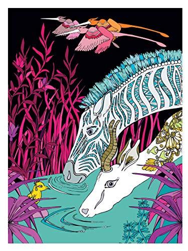 Creative Haven Midnight Safari Coloring Book: Wild Animal Designs on a Dramatic Black Background (Creative Haven Coloring Books)