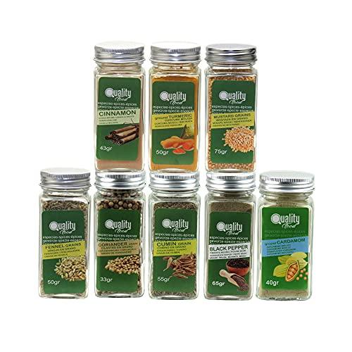 Pack de especias Indias. Ideal para regalo y uso diario. 8 Tarros de cristal, reutilizables. Comino, Cúrcuma, Cardamomo, Cilantro en Grano, Canela, Pimienta, Mostaza e Hinojo.