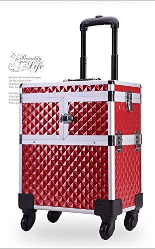 BYCDD Valise de Maquillage Professionnel, Beauté Aluminium Trolley à Maquillage Sacs pour Les Filles boîte cosmétique,Red