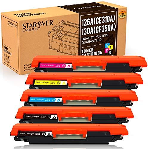 STAROVER kompatible Tonerkartusche Ersatz für HP 126A (CE310A) 130A (CF350A) für HP Laserjet Pro 100 Farb-MFP M175 M175A M175nw M275 M275NW CP1025 CP1025nw M176 M176FN M177 M177FW (5er-Pack)