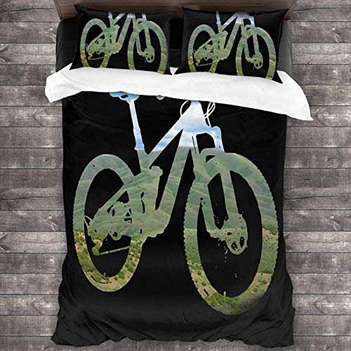 EollxC Mountain Bike Mountain and Sky - MTB Collection 3-Piece Bedding Set 86'X70' Queen Bedding Set with 2 Pillow Cover, Warm Duvet Cover, Twin Bed Set