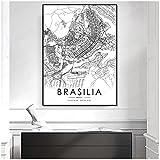 BINGJIACAI Schwarz-weiß Stadtplan Die Brasilia Karte
