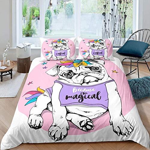 Dvvseso 3D Modern Bedding Set Pink cute unicorn pug dog Printed Duvet Cover Vivid Comforter Cover 3 Pieces Pattern Bed Set Dropship Super King size 260 x 230 cm -Adult duvet cover for bedding
