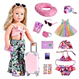Bernito 18 Inch Doll Accessories, Travel Gear Play Set Including Suitcase Luggage, Clothes, Swimsuit, Dress, Sunglasses, Camera, Pad, Travel Pillow, Fit American Girl, Our Generation,My Life Dolls