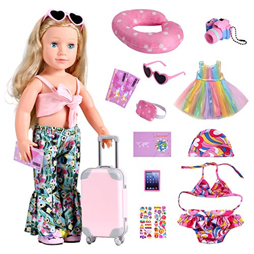 Bernito 18 Inch Doll Accessories Travel Gear Play Set, Including Suitcase Luggage, Clothes, Swimsuit, Dress, Sunglasses, Camera, Pad, Fit American Girl, Our Generation,My Life Dolls(Not Include Doll)