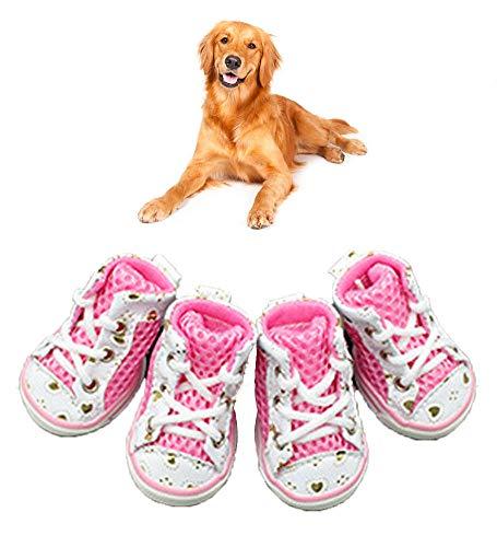XYQCPJ Maille Chaussures pour Chiens,Respirante RéSistant à l'usure PVC AntidéRapant éTanche Portable Baskets à Lacets Paws Anti-DéRapant Bottes pour Chien Petit Animal