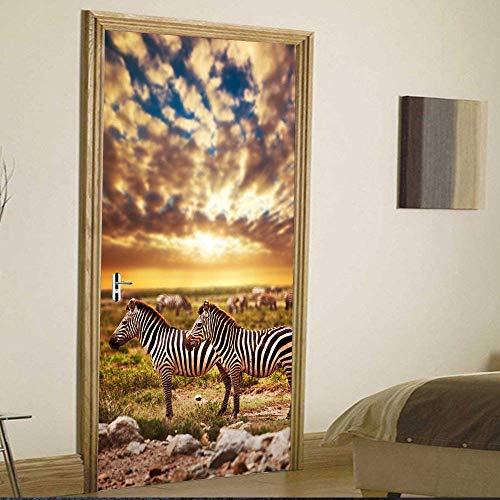 PyUK creatieve 3D-Afrikaans zebrapatroon deurstickers, zelfklevend, waterdicht, om zelf te maken, afneembaar, muurstickers voor woonkamer 77x200cm