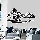 Etiqueta de la pared Jugador de esquí Tabla de esquí Aventura extrema Montaña Nieve Deportes de invierno Calcomanía de vinilo Habitación para niños Dormitorio de niños GIMNASIO Decoración mural de a