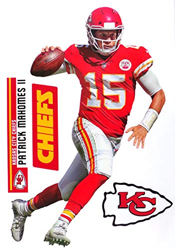 Patrick Mahomes FATHEAD TEAMMATE Chiefs Logo Set Official NFL Vinyl Wall Graphics 17' INCH