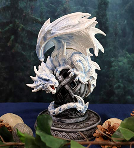 Gifts & Decor Ebros Guardian of Celtic Tomb White Icycle Dragon Backflow Cone Incense Holder Statue 8.5' Tall Fantasy Icelandic Dungeons and Dragons LED Tea Light Candle Holder Figurine