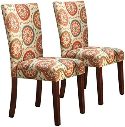 Best HomePop Parsons Upholstered Accent Dining Chair, Set of 2, Orange Suzani