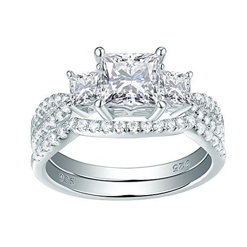 Newshe Jewellery Three Stone Cz Wedding Rings for Women Engagement Set Sterling Silver Princess Size 8