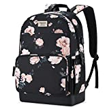 MOSISO 15.6-16 inch Laptop Backpack, Water Repellent Anti-Theft Stylish Casual Daypack Bag with Luggage Strap & USB Charging Port, Camellia Travel Business College School Bookbag for Women Girls,Black