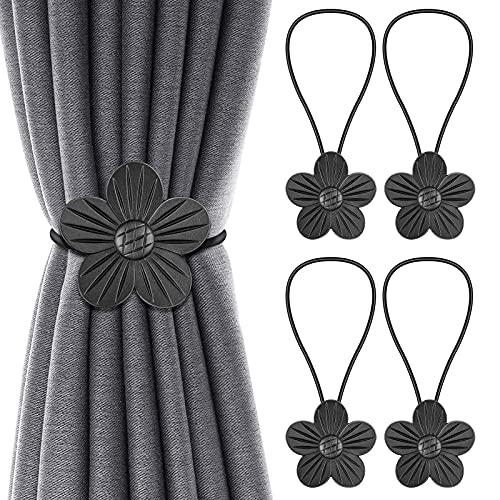 Bligli Vintage Magnetic Curtain Tiebacks, 2 Pair Resin Flower Curtain Drapery Holdback Window Curtain Decorative Buckle Holder,4 Packs Artistic Curtain Tiebacks for Home Balcony Office - Black