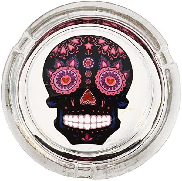 Day Of The Dead Sugar Skull Colorful Glass Ashtrays Assorted Colors Black