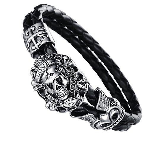 JewelryWe Schmuck 18cm Herren geflochten Lederarmband, Gotik Love Totenkopf Schädel Krone 2 Lederkette Armband Partnerarmband Armreif, Schwarz Silber, mit Geschenk Tüte