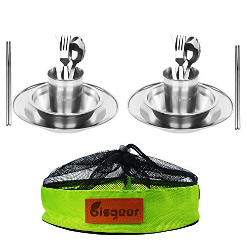 Bisgear Stainless Steel Tableware Mess Kit Includes Plate Bowl Cup Spoon Fork Knife Chopsticks Carabiner Wine Opener Dishcloth & Mesh Travel Bag for Camping Backpacking & Hiking for 2 Person