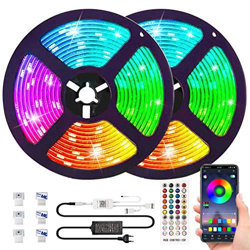 Bluetooth LED Ruban [ Avancés ] Reactive Musique 10M 5050 RGB Bande Lumineuse Multicolore avec 6500K Lumière Blanche Kit, ESEYE 300 LEDs TV Bandeau Étanche Flexible Éclairage Réglable Couleurs Néon