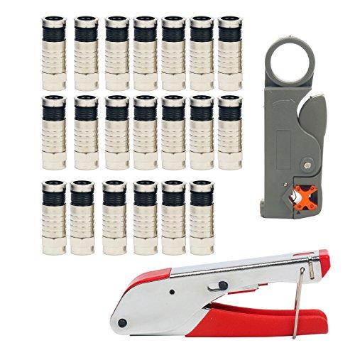 YaeTek Kompressionszange Set, Coax Crimpzange Abisolierwerkzeug RG59/RG6 mit 20 stück Kompressions-F-Stecker für SAT Kabel, Koaxialkabel Stecker Werkzeug Koax-Kabel Stripper Crimper