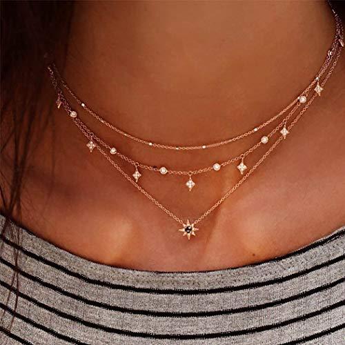Zoestar Collana a strati con ciondolo a forma di stella e cristalli, in stile bohémien, per donne e ragazze, colore oro