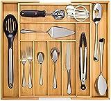 Artisware Bamboo Organizador del cajón Extensible, Cubiertos y Bandeja utensilio (7 Compartimentos...