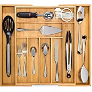 Dynamic Gear Bamboo Expandable Drawer Organizer, Premium Cutlery and Utensil Tray, 100% Pure Bamboo, Adjustable Kitchen Drawer Divider