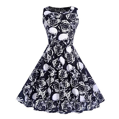 Sumeiwilly Damen 50er Vintage Retro Elegant Kleid Mädchen Party Kurzarm Rockabilly Cocktail Abendkleider Skelett Bedruckt Ärmellos Mini Blumendruck Kleider Halloween