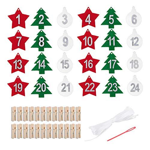 Adventskalender Zahlen Anhänger Adventskalender Nummern aus Filz Adventskalender zum Aufhängen Adventszahlen Weihnachtskalender mit Holzklammern und Band für Weihnachten zum Basteln und Verzieren