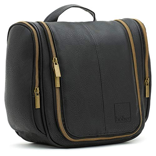 Large Capacity Hanging Wash Bag, Ideal Gift for Men - Black, Brass Zippers