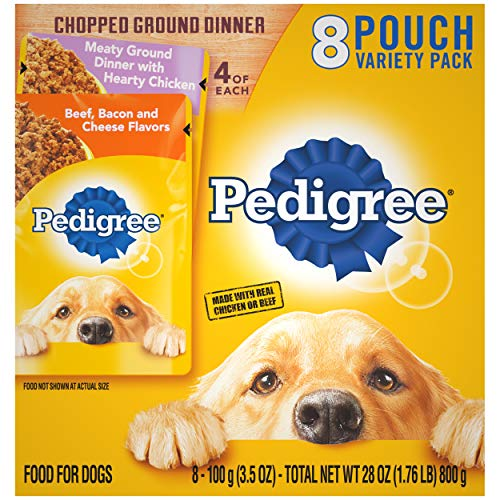 PEDIGREE Chopped Ground Dinner Adult Soft Wet Meaty Dog Food With Hearty Chicken and Beef, Bacon & Cheese Flavors Variety Pack, (8) 3.5 oz. Pouches (2 pack)