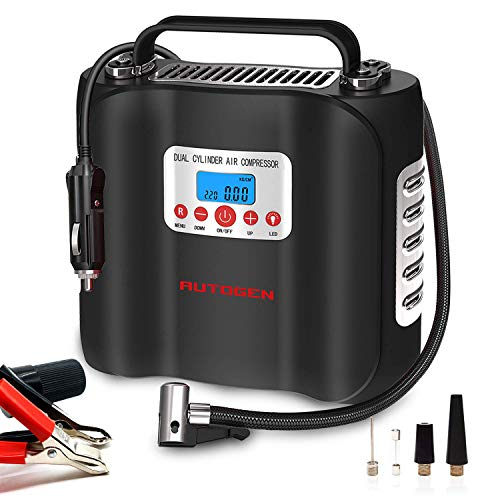AUTOGEN Dual Cylinder Air Compressor Pump 180W 120 PSI 12V, Portable Digital Tire Inflator with Digital Pressure Gauge for Car Truck Bicycle Motorcycle Balls and Others