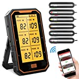 BOYON Meat Thermometer, Rechargeable Bluetooth Grilling Wireless Meat Thermometer with 6 Probes,...