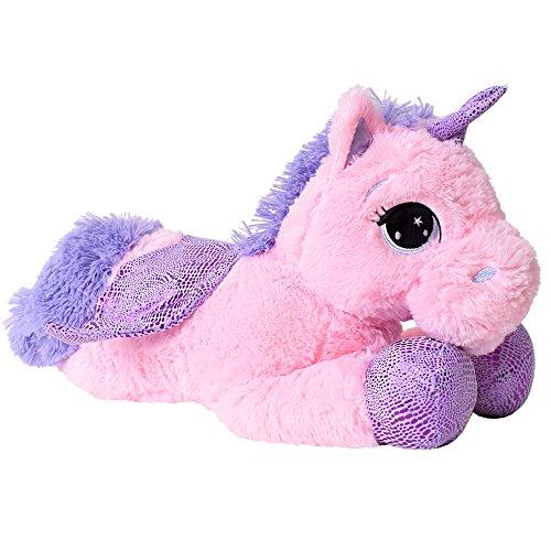 TE-Trend XL Einhorn Kuscheltier Kuschelpferd Plüschtier Stofftier Unicorn 45cm lila Glitzerhorn Rosa Pink