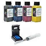 Кit ricarica cartucce HP N° 302, 302 XL nero e colore, Inchiostro Stampa Continua di altà qualità + refill clip per stampante OfficeJet 3832 All-in-One