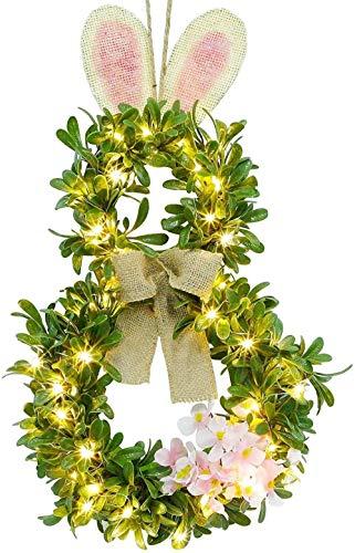 ZSW Pasen Bunny Krans Verlichte Buxus Krans Lente Voordeur Krans Groene Krans met LED Warm Wit Koper Lampen En Timer