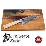 Palatina Werkstatt  Kai Shun Classic White Kiritsuke | DM-0777W | ultrascharf und limitiert | Kochmesser | 15 cm Klinge aus 32-Lagen Damaststahl | + robustes Eichenbrett 30x18 cm | VK: 226,- €