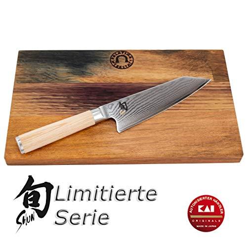 Palatina Werkstatt ® Kai Shun Classic White Kiritsuke | DM-0777W | ultrascharf und limitiert | Kochmesser | 15 cm Klinge aus 32-Lagen Damaststahl | + robustes Eichenbrett 30x18 cm | VK: 226,- €