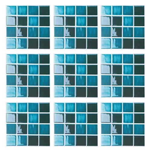 Garneck 15 Piezas pelar y Pegar Protector contra Salpicaduras Autoadhesivo 3D Mosaico de Cristal Azulejos Adhesivos Mural Papel Tapiz Pegar calcomanías para el hogar Cocina baño