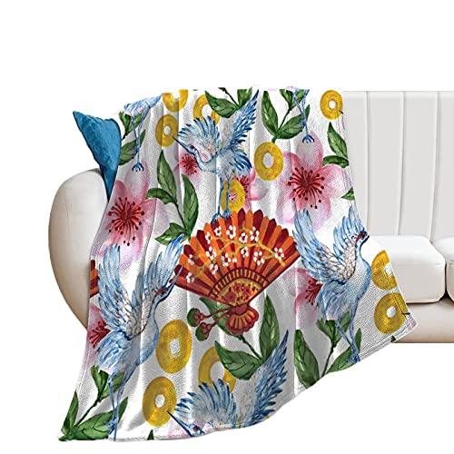 Manta de forro polar con diseño de pájaros y flores para mujer, para sofá, cómodo, colcha grande, abrigo, manta para oficina