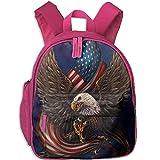 Nigmfgvnr Kinder-Tagesrucksack American Eagle mit Fahne Pink Rose Einheitsgröße