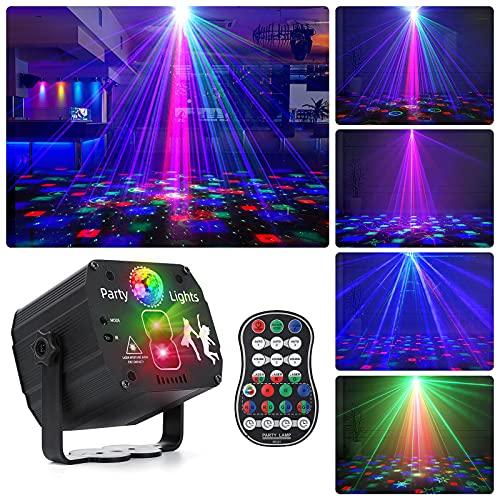 Drehbares Discokugel, RGB LED Party Licht mit Fernbedienung und USB Kabel, Sprachsteuertes Bühnenlicht, Discolicht mit mehreren Mustern für Partys Geburtstags Halloween Feiertags Hochzeit Weihnachts