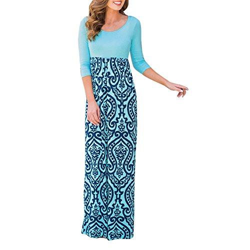 Zottom Frauen Kleider, Gestreiftes langes Boho-Kleid Lady Beach Summer Sundress Maxi DressFreizeitkleider