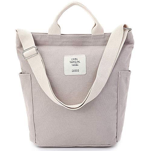 Yidarton Damen Umhängetaschen groß Tasche Casual Handtasche Canvas Chic Damen Schultertasche Henkeltasche für Schule Shopping Arbeit Einkauf (Grau)