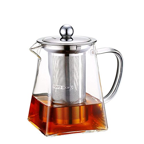 Toyo Hofu trasparente in vetro resistente al calore tè sfuso grande teiera con infusore in acciaio INOX, 1200ML, Borosilicato vetro, 600ml
