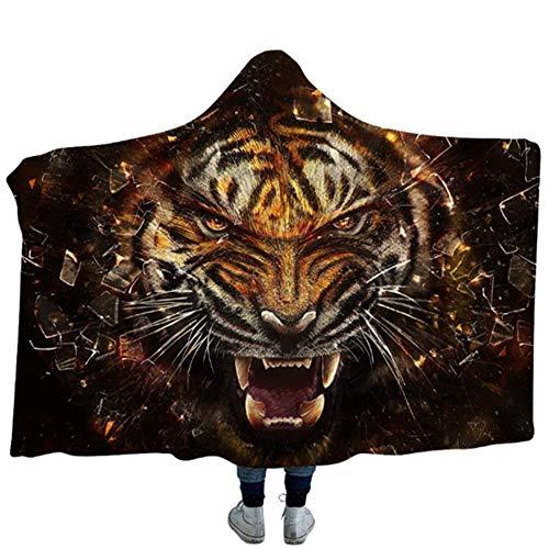 Lesslijer Deken met capuchon voor kinderen en volwassenen, dikke pluche 3D digitale tijgerprint winter-warme zachte pluche mantel-capuchon deken, perfecte reis