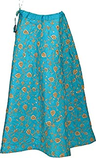FEMEZONE Women's Brocade Silk Zari Work Ethnic Traditional Lehenga/Skirt (FEM20191801-02; Turquoise; Free Size)