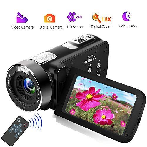 Videocámara Videocamara Full HD 18X Zoom Digital Camara de Video de Visión Nocturna con LCD y Pantalla de Rotación de 270 Grados con Control Remoto