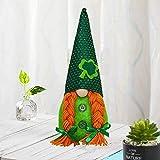 Juego de 2 piezas de decoración de fiesta del Día de San Patricio Decoración de muñeca sin rostro de trébol verde irlandés, muñeco de peluche enano, verde elfo hecho a mano