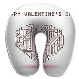 LXJ-CQ Almohada para el Cuello Placa de Circuito eléctrico Rojo Corazón de San Valentín Amor en Forma de U Almohada de Viaje Diseño ergonómico Contorneado Funda Lavable